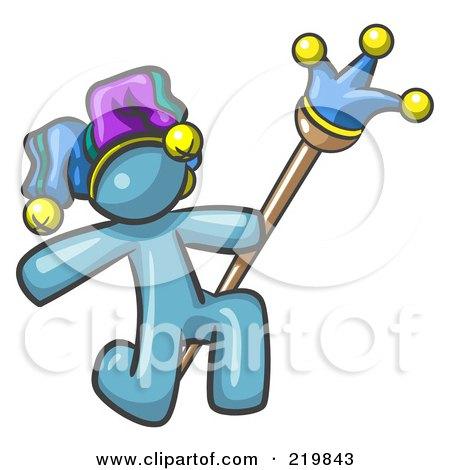 Royalty-Free (RF) Clipart Illustration of a Denim Blue Design Mascot Man Court Jester Kneeling by Leo Blanchette