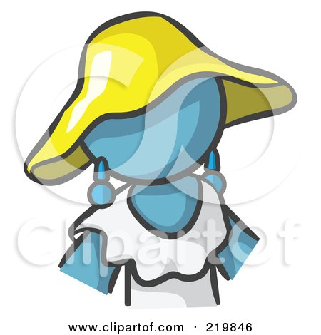 Royalty-Free (RF) Clipart Illustration of a Denim Blue Woman Avatar In A White Dress And Yellow Hat by Leo Blanchette