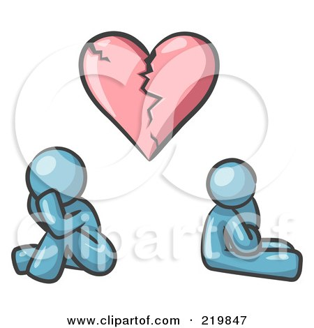 Royalty-Free (RF) Clipart Illustration of a Denim Blue Design Mascot Man And Woman Under A Broken Heart by Leo Blanchette