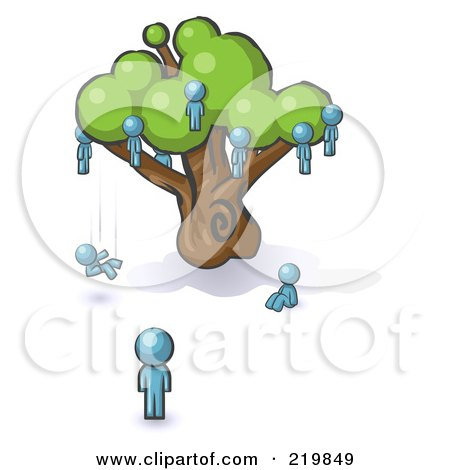 Royalty-Free (RF) Clipart Illustration of a Denim Blue Design Mascot Man Watching Others Fall From The Family Tree by Leo Blanchette