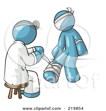 Royalty-Free (RF) Clipart Illustration of a Denim Blue Male Doctor In A Lab Coat, Sitting On A Stool And Bandaging A Patient That Has Been Hurt On The Head, Arm And Ankle by Leo Blanchette