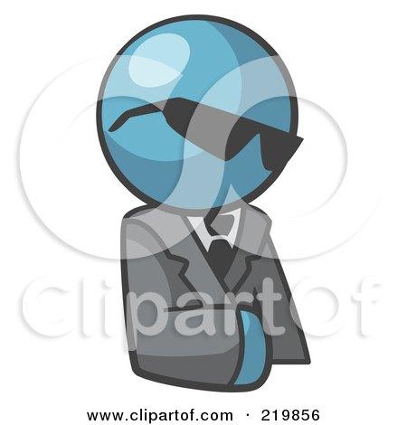 Royalty-Free (RF) Clipart Illustration of a Denim Blue Man Businessman Avatar Wearing Shades by Leo Blanchette