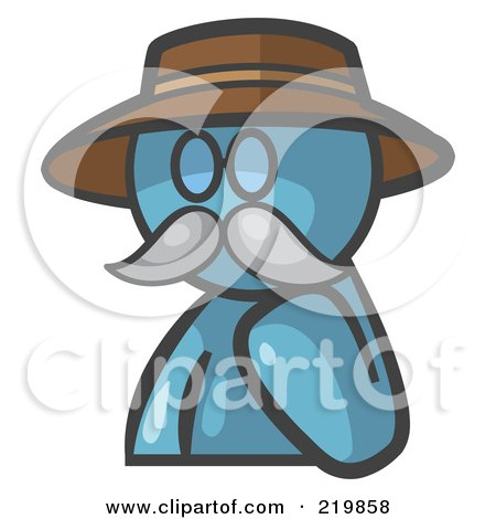 Royalty-Free (RF) Clipart Illustration of a Denim Blue Man Avatar Professor With A Mustache by Leo Blanchette