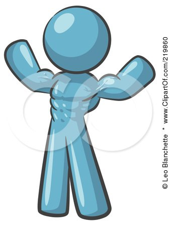 Royalty-Free (RF) Clipart Illustration of a Purple Bodybuilder Man Flexing His Muscles And Showing The Definition In His Abs, Chest And Arms by Leo Blanchette