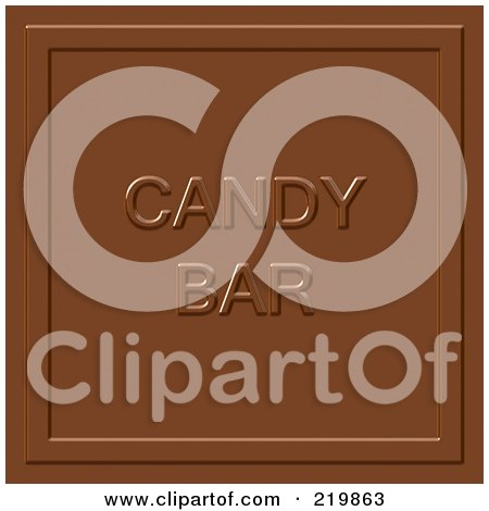 Royalty-Free (RF) Clipart Illustration of a Milk Chocolate Square With Candy Bar Imprint by Arena Creative
