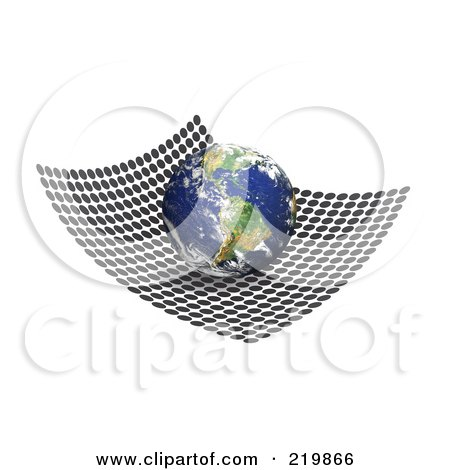 Royalty-Free (RF) Clipart Illustration of a 3d Globe Featuring South America On A Net Of Black Circles by Arena Creative