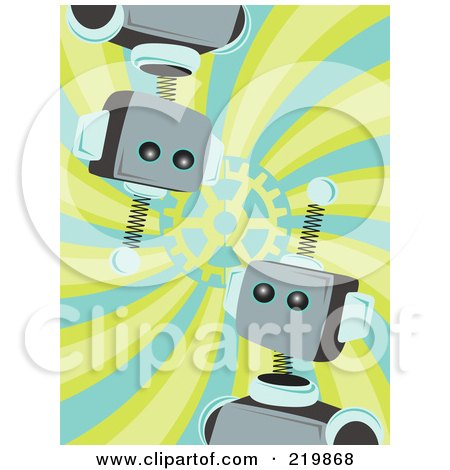Royalty-Free (RF) Clipart Illustration of Blue And Metal Robot Faces Over A Swirl Background by mheld