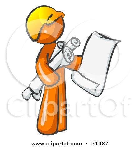 Orange Man Contractor Or Architect Holding Rolled Blueprints And Designs And Wearing A Hardhat Posters, Art Prints