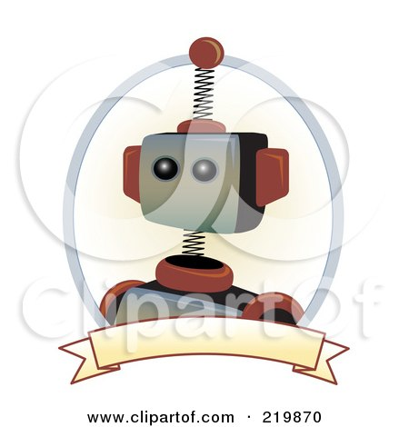Royalty-Free (RF) Clipart Illustration of a Brown And Metal Robot Face With A Blank Banner by mheld