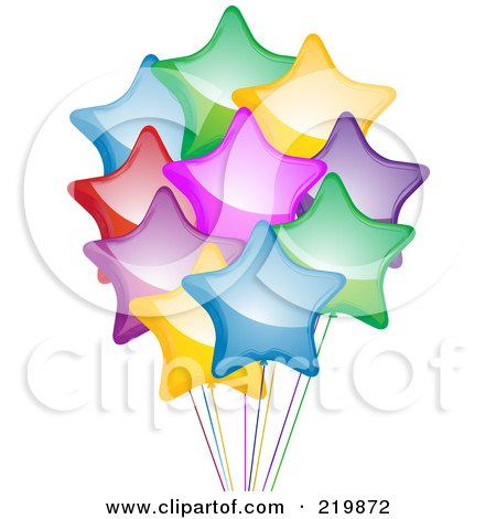 Royalty-Free (RF) Clipart Illustration of a Bunch Of Shiny Colorful Star Balloons And Ribbons by elaineitalia