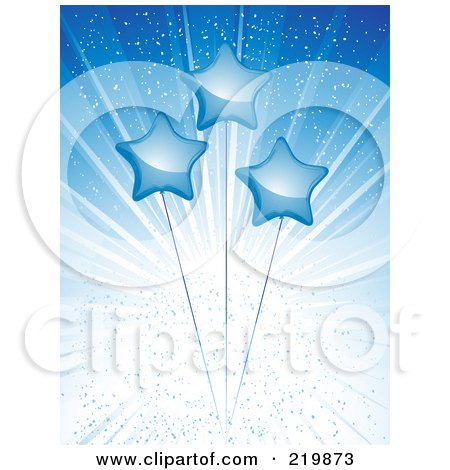 Royalty-Free (RF) Clipart Illustration of a Background Of Blue Shiny Star Balloons Over A Blue Burst by elaineitalia