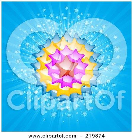 Royalty-Free (RF) Clipart Illustration of a Star Balloon Burst On Blue Rays by elaineitalia