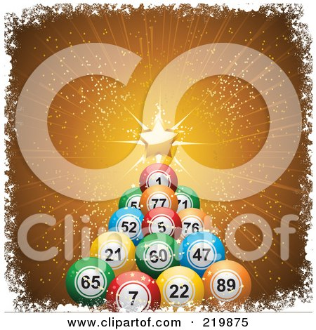Royalty-Free (RF) Clipart Illustration of a Christmas Tree Of Colorful Bingo Balls And A Golden Star, On Gold Rays by elaineitalia
