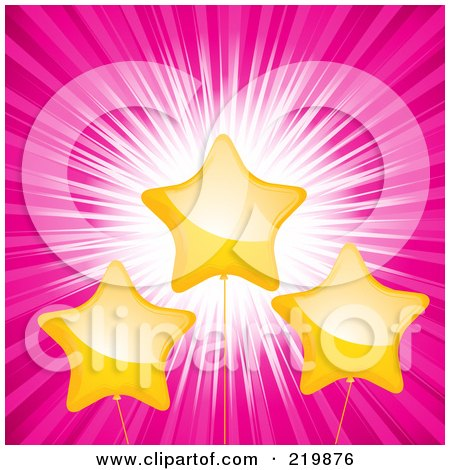 Royalty-Free (RF) Clipart Illustration of a Background Of Yellow Shiny Star Balloons Over A Pink Burst by elaineitalia