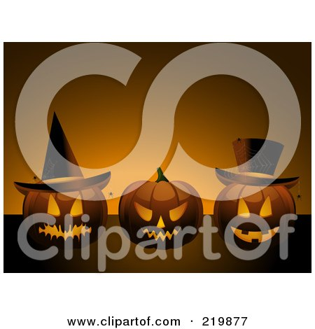 Royalty-Free (RF) Clipart Illustration of a Background Of Three Evil Jackolanterns With Hats And Spiders by elaineitalia