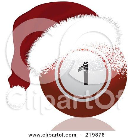Royalty-Free (RF) Clipart Illustration of a Red Bingo Ball With A Santa Hat by elaineitalia