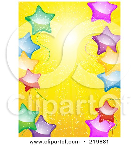 Royalty-Free (RF) Clipart Illustration of a Background Of Colorful Star Balloons Over Yellow Sunshine by elaineitalia