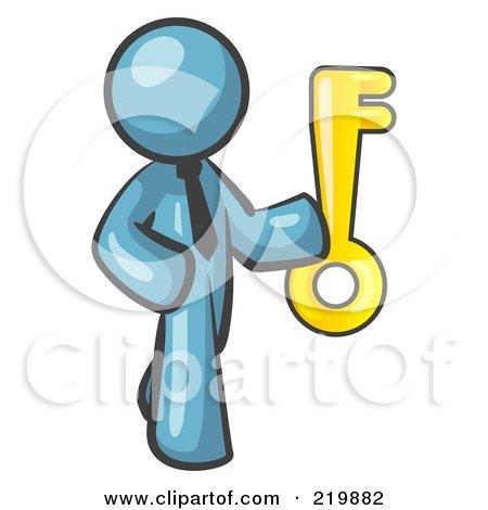 Royalty-Free (RF) Clipart Illustration of a Denim Blue Businessman Holding up a Large Golden Skeleton Key by Leo Blanchette