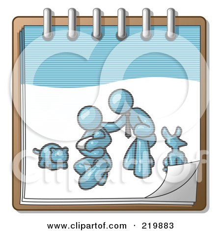 Royalty-Free (RF) Clipart Illustration of a Denim Blue Family Showing A Man Kneeling Beside His Wife And Newborn Baby With Their Dog And Cat On A Notebook, Symbolizing Family Planning by Leo Blanchette