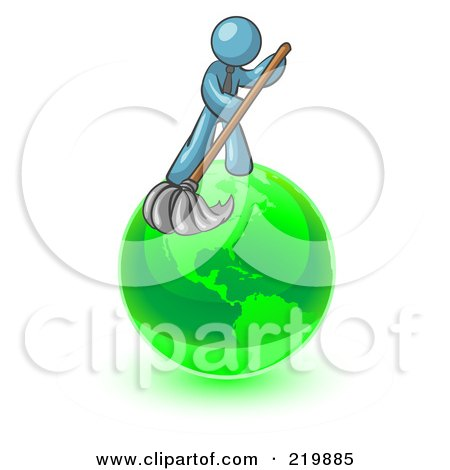Royalty-Free (RF) Clipart Illustration of a Denim Blue Man Using A Wet Mop With Green Cleaning Products To Clean Up The Environment Of Planet Earth  by Leo Blanchette