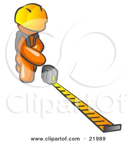 Orange Man Contractor Wearing A Hardhat, Kneeling And Measuring Posters, Art Prints