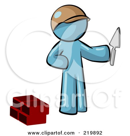 Royalty-Free (RF) Clipart Illustration of a Denim Blue Man Brick Layer Holding A Trowel by Leo Blanchette