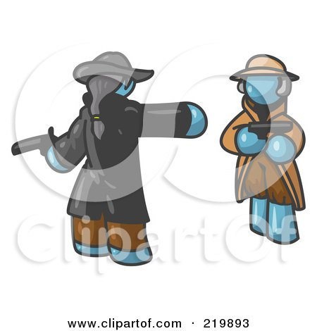 Royalty-Free (RF) Clipart Illustration of a Denim Blue Man Challenging Another Denim Blue Man to a Duel With Pistils  by Leo Blanchette