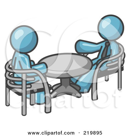 Royalty-Free (RF) Clipart Illustration of Two Denim Blue Business Men Sitting Across From Eachother at a Table During a Meeting by Leo Blanchette