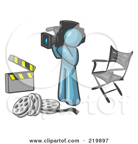 Royalty-Free (RF) Clipart Illustration of a Denim Blue Man Filming a Movie Scene With a Video Camera in a Studio by Leo Blanchette