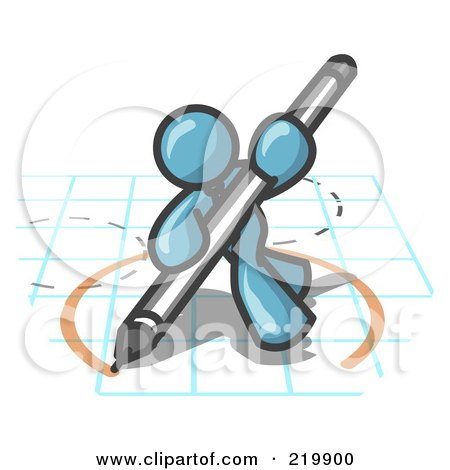 Royalty-Free (RF) Clipart Illustration of a Denim Blue Man Holding a Pencil and Drawing a Circle on a Blueprint by Leo Blanchette