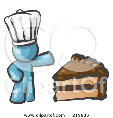 Royalty-Free (RF) Clipart Illustration of a Denim Blue Chef Man Wearing A White Hat And Presenting A Tasty Slice Of Chocolate Frosted Cake by Leo Blanchette