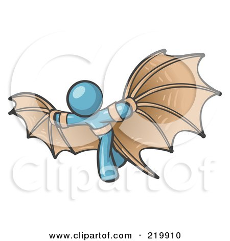 Royalty-Free (RF) Clipart Illustration of a Determined Denim Blue Man Strapped In Glider Wings, Prepared To Make Flight by Leo Blanchette