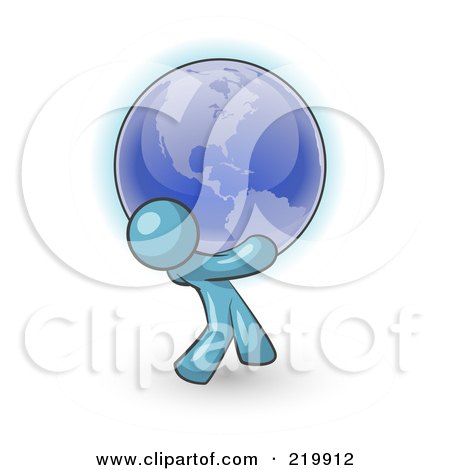 Royalty-Free (RF) Clipart Illustration of a Denim Blue Man Carrying The Blue Planet Earth On His Shoulders, Symbolizing Ecology And Going Green  by Leo Blanchette