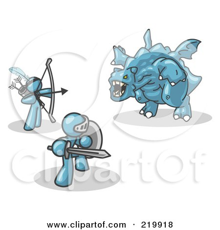Royalty-Free (RF) Clipart Illustration of Two Denim Blue Men Working Together to Conquer an Obstacle, a Dragon by Leo Blanchette