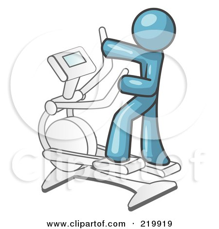 Royalty-Free (RF) Clipart Illustration of a Denim Blue Man Exercising on a Cross Trainer in a Gym by Leo Blanchette