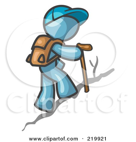 Royalty-Free (RF) Clipart Illustration of a Denim Blue Man Backpacking and Hiking Uphill by Leo Blanchette