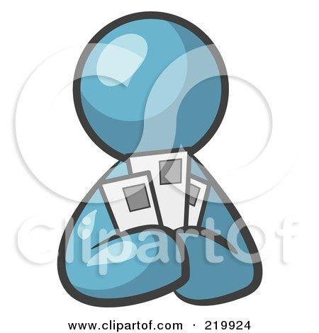 Denim Blue Man Holding Three Coupons Or Envelopes, Symbolizing Communications Or Savings Posters, Art Prints