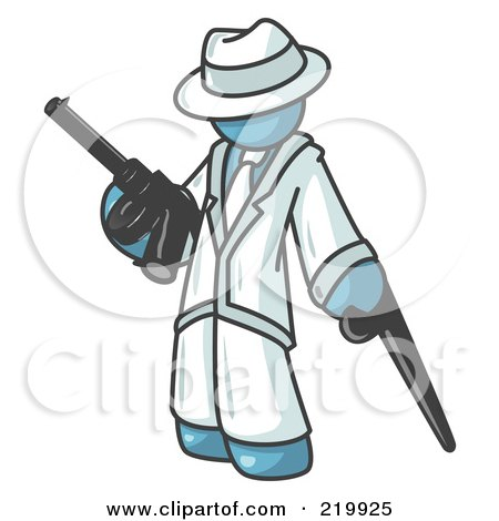Royalty-Free (RF) Clipart Illustration of a Denim Blue Gangster Man Carrying a Gun and Leaning on a Cane by Leo Blanchette
