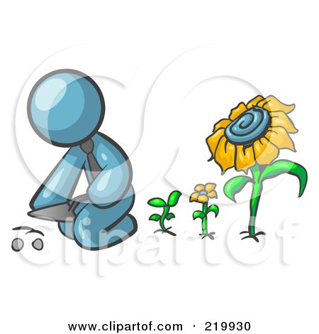 Royalty-Free (RF) Clipart Illustration of a Denim Blue Man Kneeling By Growing Sunflowers To Plant Seeds In A Dirt Hole In A Garden by Leo Blanchette