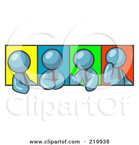 Royalty-Free (RF) Clipart Illustration of Four Denim Blue Men In Different Poses Against Colorful Backgrounds, Perhaps During A Meeting by Leo Blanchette