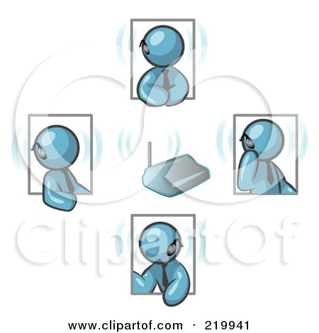 Royalty-Free (RF) Clipart Illustration of a Group of Four Denim Blue Men Holding A Phone Meeting And Wearing Wireless Bluetooth Headsets by Leo Blanchette