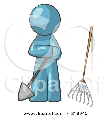 Royalty-Free (RF) Clipart Illustration of a Denim Blue Man Gardener With A Shovel And A Rake by Leo Blanchette