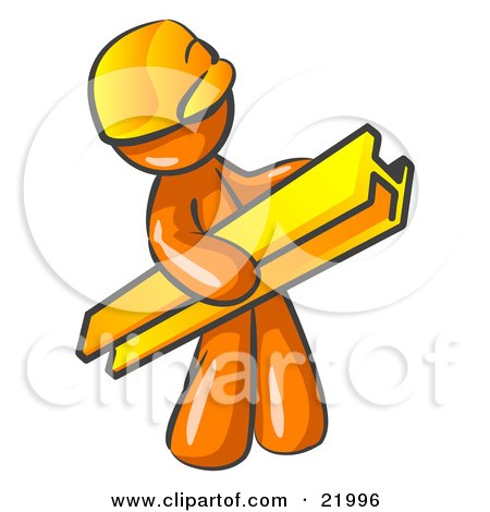 Orange Man Construction Worker Wearing A Hardhat And Carrying A Beam At A Work Site Posters, Art Prints