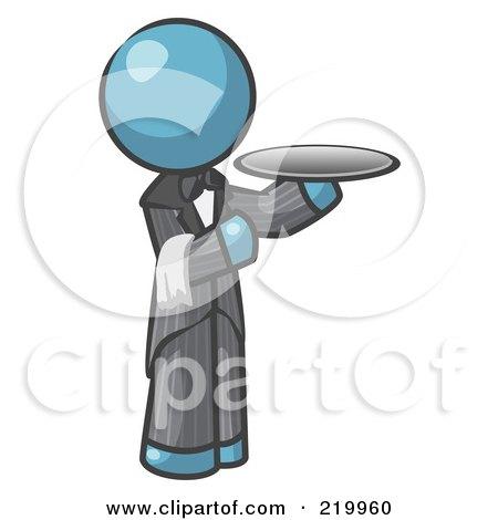 Royalty-Free (RF) Clipart Illustration of a Denim Blue Man Waiter Holding A Platter by Leo Blanchette