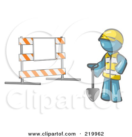 Royalty-Free (RF) Clipart Illustration of a Denim Blue Man Construction Worker In A Yellow Vest And Hardhat, Holding A Shovel And Standing By A Road Block Sign by Leo Blanchette