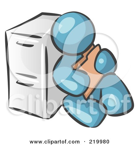 Royalty-Free (RF) Clipart Illustration of a Denim Blue Man Sitting By A Filing Cabinet And Holding A Folder by Leo Blanchette