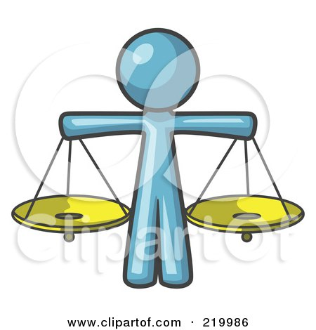 Royalty-Free (RF) Clipart Illustration of a Denim Blue Man Scales Of Justice With Two Gold Scales by Leo Blanchette