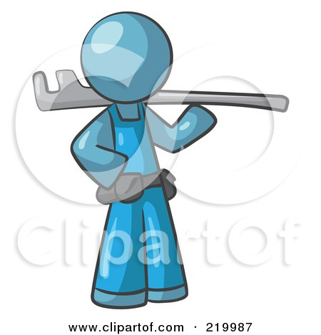 Royalty-Free (RF) Clipart Illustration of a Denim Blue Man Plumber With A Tool by Leo Blanchette
