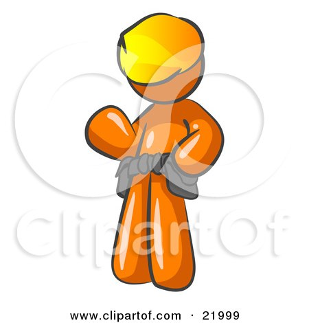Friendly Orange Construction Worker Or Handyman Wearing A Hardhat And Tool Belt And Waving Posters, Art Prints