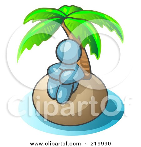 Royalty-Free (RF) Clipart Illustration of a Denim Blue Man Sitting All Alone With A Palm Tree On A Deserted Island by Leo Blanchette